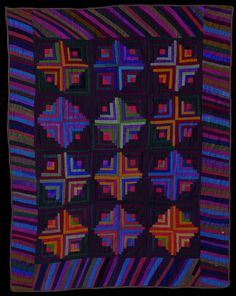 Amish Log Cabin quilt, light & dark variation, c. 1880-1890. Ohio Amish Quilts from the Darwin D. Bearley Collection at the San Jose Quilt Museum. 2014 exhibit.