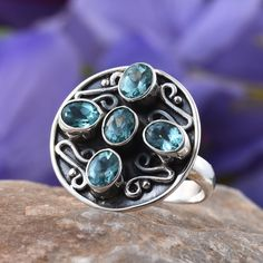 Artisan Crafted Madagascar Apatite Ring in Sterling Silver (Nickle Free)