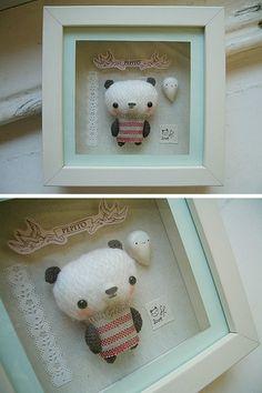 1.5 pollici Tiny handmade Orsacchiotto con Carino Panda Cappello case di bambole