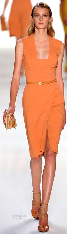 Elie Saab - amazing orange dress with that great square neckline and angled wrap pencil skirt