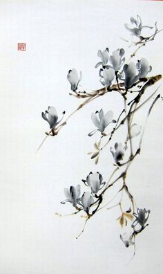 Suibokuga ink painting Sumie Japanese magnolia Floral