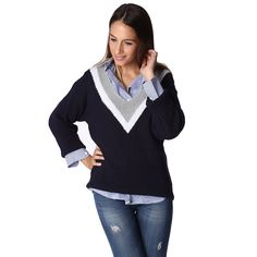 Navy blue textured knitted sweater with contrast detail