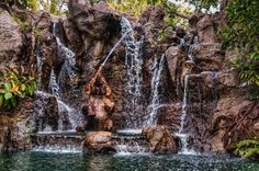 Too Much Fun in the Shower - elephant in a waterfall on The World Famous Jungle Cruise in Adventureland at Disneyland