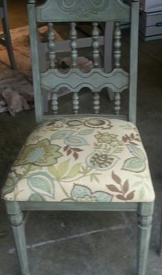 Vintage chair in Annie Sloan Duck Egg Blue paint with clear and dark wax.
