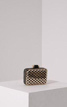 Kristina Black Caged Clutch Bag