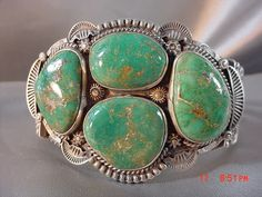 Navajo Native American Sterling Silver & Green Turquoise Bracelet by Oscar…