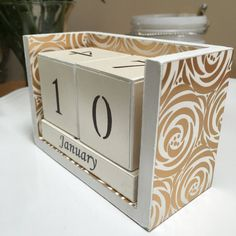 Perpetual desk calendar wooden blocks hand-painted white