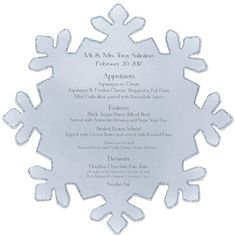 You are going to love the large size of this printable snowflake! It's great for table numbers, decorations, programs and menus. If you're having Christmas in July, they can also be made into fans.