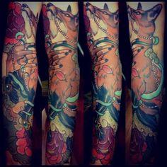 japanese fox tattoo | Sleeve New School Fox Tattoo by Emily Rose Murray