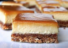 SCD Cinnamon Swirl Caramel Cheesecake Bars (*Substitute honey for maple syrup / coconut nectar & use SCD yogurt. Greek Sweets, Greek Desserts, Vegan Desserts, Just Desserts, Delicious Desserts, Yummy Food, Caramel Cheesecake, Cheesecake Bars, Cinnamon Cheesecake