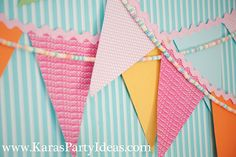 Bunting and candy necklace to decorate the lemonade stand