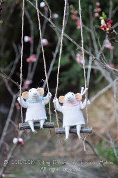 Tiny mice on swings! Miniature garden..