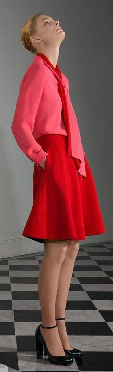 Bouchra Jarrar A/W '13 look book - <3 the color saturation of this outfit, bright red & pink