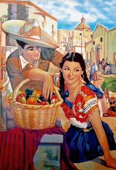 El Mercado (1940) - Mexican Calendar Art
