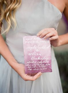 Ombre watercolor calligraphy invitations: http://www.stylemepretty.com/vault/gallery/37833 | Photography: Jennifer Kulakowski - http://jenniferkulakowski.com/ |||| Love the grey chiffon dress for bridesmaids