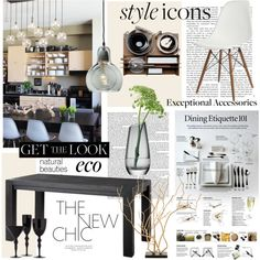 Get the Look: Sleek Eco Dining Room by dressesanddressers on Polyvore featuring polyvore, interior, interiors, interior design, home, home decor, interior decorating, Eichholtz, &Tradition, Malle W. Trousseau, LSA International, dining room, modern, diningroom and eco