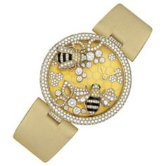 Cartier Bestiaire Bees Decor 18K Yellow Gold Set with Diamonds Dial Ladies Watch featuring polyvore fashion jewelry watches 18k gold bracelet diamond bracelet water resistant watches gold wristwatches gold bracelet watches