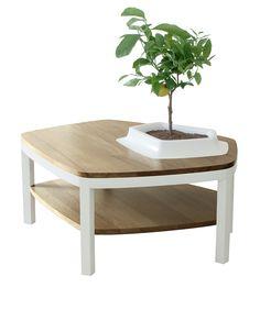 Table Basse Volcane Blanc Pieds Bois - Bellila - Visuel 1