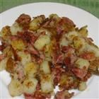 Very cheap meal-just a can of corned beef, 6 small potatoes peeled and diced, 1 medium onion, chopped1 cup beef broth.Cover and simmer until potatoes are of mashing consistency, and the liquid is almost gone. Mix well, and serve.