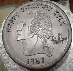 Silver quarter cake for a birthday celebration (in bart we trust) 25th Birthday Cakes, Birthday Brunch, 25 Birthday, Birthday Celebration, Birthday Ideas, Happy Boss's Day, Money Cake, Gifts For Boss, Just Cakes