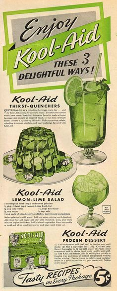"""Kool-Aid Thirst Quenchers, Lemon-Lime Salad + Frozen Dessert recipes from """"Country Gentleman"""" magazine 
