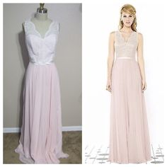 """After 6 bridesmaid dress blush pink/ ivory Full length dress w/ v-neck classic lace bodice in ivory over blush pink lux chiffon. 1"""" grosgrain bow belt at natural waist always matches lace color. Lux chiffon modified circle skirt. regular price 300.00. Worn once. After 6 Dresses"""