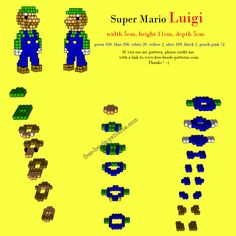 3D Luigi - Super Mario perler pattern by free beads patterns