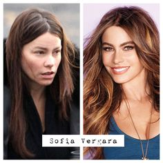 Sofia Vergara no makeup before and after.  This woman is amazing! The perfect combination of beautiful and funny! Oh and the accent is pretty great too...