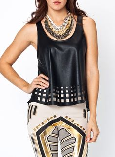 faux leather laser cut tank $26.90