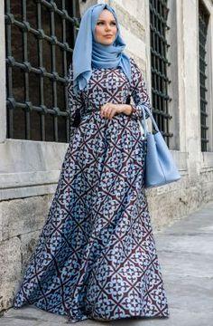 Muslima Wear Desenli Elbise 35005 Bebek Mavisi - Kahve