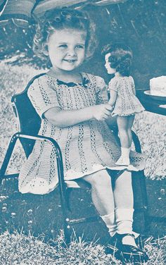 Vintage Crochet Pattern 14 Doll Clothes Lace Party Dress Mary Hoyer