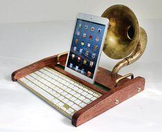 iPad Workstation  Keyboard  Tablet Dock plus Acoustic by woodguy32