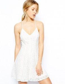 White Halter Top V Neck Crossed Spaghetti Straps Lace Dress Skater Dress, Dress Skirt, Lace Dress, White Lace Cami, White Dress, Short Outfits, Short Dresses, Spaghetti Strap Dresses, Spaghetti Straps