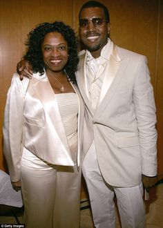 Tragedy: Kanye lost his mother Donda West - pictured together at the launch of the Kanye West Foundation in Beverly Hills back in February 2005 -  following a breast reduction surgery in November 2007