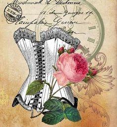 vintage, corset, rose, pink, white, lace, victorian, parchment
