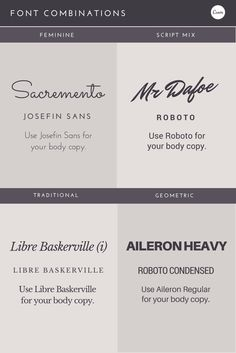 Font Combinations! Some great typographic tips to apply to your next design. #fonts #fontpairing #graphicdesign #typography