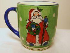 Christmas Santa Mug Coffee Cup Green Libbey Blue Handle Wreath