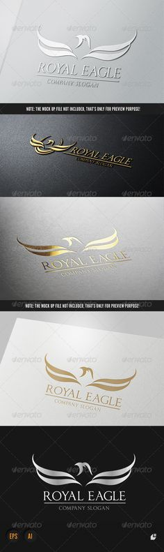 Royal Eagle Logo III #GraphicRiver This logo design for all creative business. Consulting, Excellent logo,simple and unique concept. Logo Template Features AI and EPS (Illustrator 10 EPS) 300PPI CMYK 100% Scalable Vector Files Easy to edit color / text Ready to print Font information at the help file If you buy and like this logo, please remember to rate it. Thanks! Created: 10September13 GraphicsFilesIncluded: VectorEPS #AIIllustrator Layered: No MinimumAdobeCSVersi...