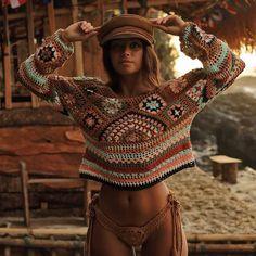 Grandma Square Top Vintage Lace Crochet Hippie Top Gypsy Top Patchwork Top Top Boho Crochet Top Glamor & The Gypsy Top Glamor and Gypsy Top Tops Vintage, Vintage Lace, Vintage Hippie, Crochet Hippie, Pull Crochet, Crochet Granny, Crochet Fringe, Tops Boho, Hippie Tops