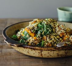 Ginger-Roasted Pumpkin and Quinoa Salad with Mint, Chili, and Lime