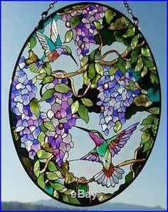 stained glass hummingbird hydrangea - Google Search
