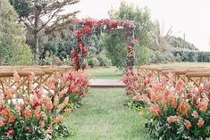A Lush Floral Aisle Adds Beautiful Whimsy to this Coastal Wedding - Wedding Home Decoration Wedding Ceremony Ideas, Wedding Aisles, Wedding Backdrops, Wedding Ceremonies, Ceremony Backdrop, Wedding Reception, Wedding Locations California, California Wedding, Floral Wedding