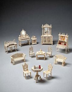 Set of carved bone dollhouse furniture, made in France, c. Creator unknown by me? Miniature Furniture, Doll Furniture, Dollhouse Furniture, Antique Dollhouse, Dollhouse Miniatures, Miniature Houses, Miniature Dolls, Tiny World, Mini Things
