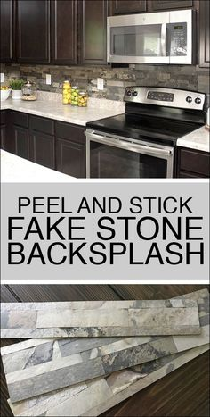 Faux Stone Kitchen Backsplash - How to Nest for Less™. Aspect Tiles on Amazon are peel and stick tiles. Easy to cut with scissors. Perfect simple DIY install project