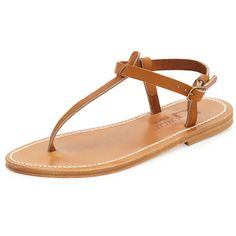 K. Jacques Picon Flat Thong Sandal ($265) ❤ liked on Polyvore featuring shoes, sandals, natural, shoes sandals classic, flat sandals, thong sandals, toe thongs, ankle wrap sandals and ankle strap flats