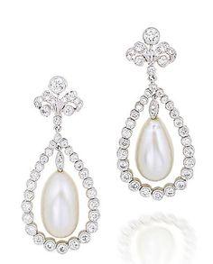Natural pearl and diamond earrings - Bonhams