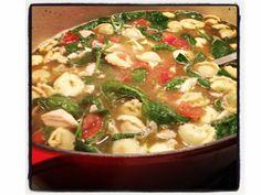 Chicken, Tortellini, Spinach Soup. `