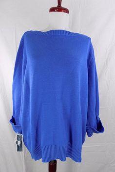 222cf26b4a7 Karen Scott 8908 Womens Blue Ribbed Trim Pullover Sweater Top Plus 2x BHFO