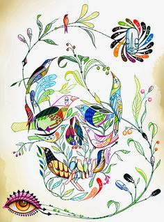 Skull made up of flowers and birds