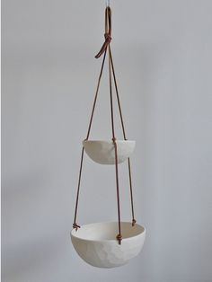Hanging Fruit Basket Two Tiered Porcelain and by RevisionsDesign
